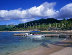 ANTIGUA, Morris Bay, tourists in boat, at pier, view from Curtain Bluff, ANT686JPL