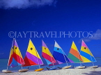 ANTIGUA, West Coast, row of sailboats lined up along beach, ANT650JPL