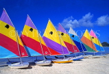 ANTIGUA, West Coast, row of sailboats lined up along beach, ANT758JPL
