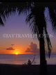 ANTIGUA, West Coast, sunset with coconut tree and sunbed, ANT725JPL