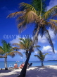 ANTIGUA, West coast, beach scene with tourists and coconut trees, ANT698JPL
