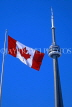 CANADA, Ontario, TORONTO, CN Tower and Canada flag, CAN568JPL