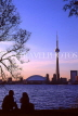 CANADA, Ontario, TORONTO, city skyline and CN Tower, dusk view, CAN102JPL