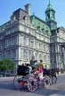 CANADA, Quebec, MONTREAL, Old Town, City Hall and horse drawn carriage, CAN124JPL