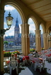 GERMANY, Hamburg, Rathaus (City Hall) and Alster Lake, view from cafe archway, GER1048JPL