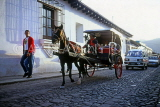 GUATEMALA, Antigua, horse drawn carriage, street scene, GUA277JPL