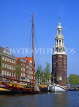HOLLAND, Amsterdam, canal scene and Montelbaan Tower, HOL695JPL