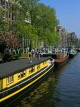 HOLLAND, Amsterdam, canal scene and houseboats, HOL654JPL