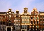 HOLLAND, Amsterdam, canalside gabled architecutre, buildings, HOL665JPL