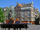 HOLLAND, Amsterdam, gabled architecture and Multatulli statue, HOL623JPL