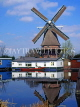 HOLLAND, Badhoevedorp Ringvaart, Sloten Windmill and houseboat, HOL504JPL