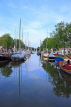 HOLLAND, Edam, old town, canalside and moored boats, HOL816JPL