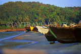 India, GOA, row of fishing boats on beach, IND666JPL