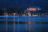 SRI LANKA, Kandy, Kandy Lake and Temple of the Tooth, night view, SLK3725JPL