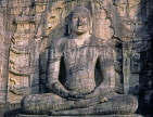 SRI LANKA, Polonnaruwa, Gal Viahre (stone temple), granite carved seated Buddha, SLK1619JPL
