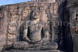 SRI LANKA, Polonnaruwa, Gal Viahre (stone temple), granite carved seated Buddha, SLK2071JPL