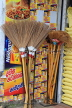 SRI LANKA, Pussellawa, town centre, brooms for sale, made from coconut eekles, SLK4188JPL