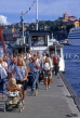 SWEDEN, Stockholm, Old Town (Gamla Stan), commuters getting off ferry, SWE203JPL