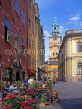 SWEDEN, Stockholm, Old Town Square (Gamla Stan Stortorget), cafes and Cathedral Tower, SWE118JPL