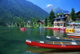 SWITZERLAND, Valais, CHAMPEX, Lake Champex, pleasure boats and resort centre, SW1447JPL
