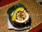 TONGA, traditional food, pork and yam, with avocade, served in coconut, TON2419JPL