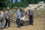 TURKEY, Aphrodisias, workers with stone ruins, at an archaeological dig, TUR629JPL