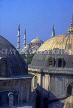 TURKEY, Istanbul, St Sophia Basilica domes and Blue Mosque in background, TUR422JPL