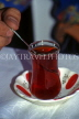 TURKEY, Istanbul, Tea served in traditional manner (in glass), TUR472JPL