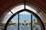 UAE, ABU DHABI, Emirates Palace Hotel, sea view through window, UAE602JPL