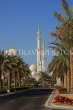 UAE, ABU DHABI, Sheik Zayed Mosque, and palm tree lined avenue, UAE655JPL