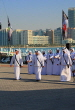 UAE, ABU DHABI, The Corniche, men performing a traditional cultural show, UAE688JPL