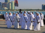 UAE, ABU DHABI, The Corniche, men performing a traditional cultural show, UAE689JPL