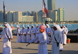 UAE, ABU DHABI, The Corniche, men performing a traditional cultural show, UAE690JPL
