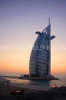 UAE, DUBAI, Burj al Arab Hotel, dusk sunset view, UAE314JPL