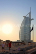 UAE, DUBAI, Burj al Arab Hotel and beach, dusk sunset view, UAE373JPL