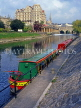UK, Avon, BATH, River Avon and Pulteney Bridge, with narrowboats, BAT304JPL