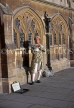 UK, Avon, BATH, flute player in Regency style outfit, by Bath & Wells Cathedral, UK5206JPL
