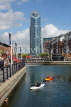 UK, Hampshire, PORTSMOUTH, Gunwharf Quays, canalside and Number One Tower, UK6594JPL
