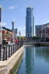 UK, Hampshire, PORTSMOUTH, Gunwharf Quays, canalside and Number One Tower, UK6662JPL