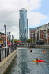 UK, Hampshire, PORTSMOUTH, Gunwharf Quays, canalside and Number One Tower, UK6675JPL