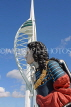 UK, Hampshire, PORTSMOUTH, Gunwharf Quays Spinnaker Tower and ship figurehead, UK6525JPL
