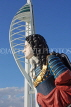 UK, Hampshire, PORTSMOUTH, Gunwharf Quays Spinnaker Tower and ship figurehead, UK6526JPL