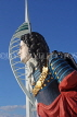UK, Hampshire, PORTSMOUTH, Gunwharf Quays Spinnaker Tower and ship figurehead, UK6529JPL