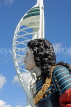 UK, Hampshire, PORTSMOUTH, Gunwharf Quays Spinnaker Tower and ship figurehead, UK6530JPL