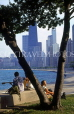 USA, Illinois, CHICAGO, Lincoln Park, skyline view through tree, US2670JPL