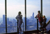 USA, Illinois, CHICAGO, children viewing city from John Hancock Tower, US3800JPL