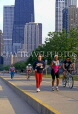 USA, Illinois, CHICAGO, joggers and cyclists, Downtown, US3462JPL