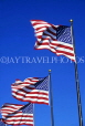 USA, Illinois, CHICAGO, three US flag, against blue sky, US2808JPL