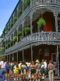 USA, Louisiana, NEW ORLEANS, French Quarter, architecture, ironwork balconies of Royal Cafe, LOU133JPL