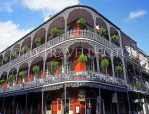 USA, Louisiana, NEW ORLEANS, French Quarter, architecture, ironwork balconies of Royal Cafe, LOU135JPL